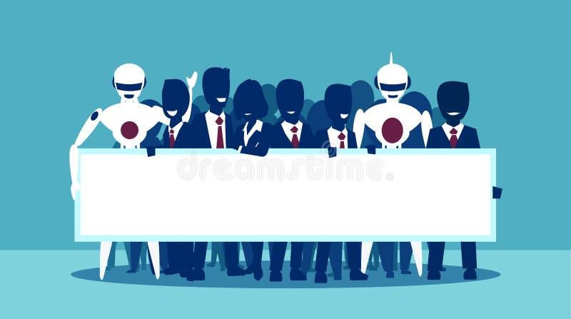 Vector van een groep die zakenlui en robots lege witte banner houden stock illustratie