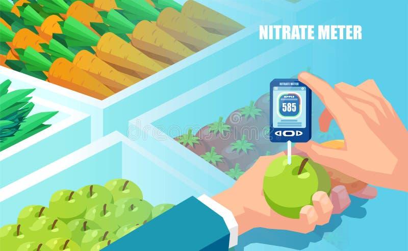Vector van een hand die het nitraatmeetapparaat op houden groenten en vruchten achtergrond vector illustratie