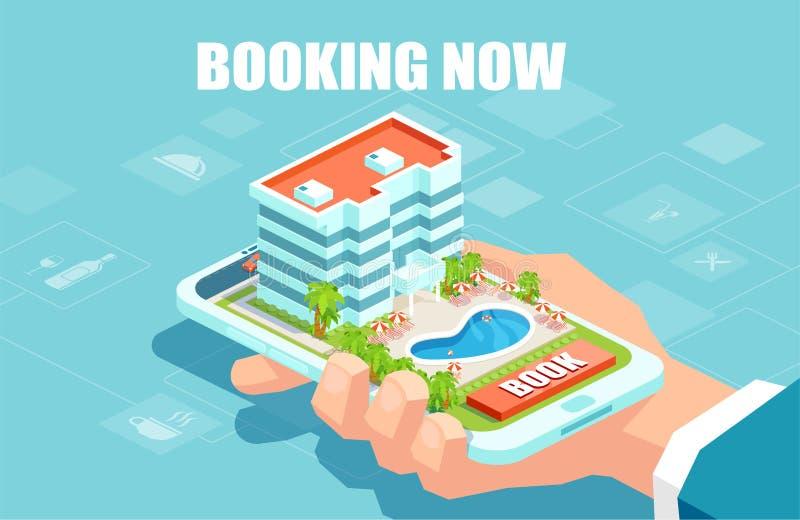 Vector van een hand die een smartphone het boeken hotel online houden vector illustratie