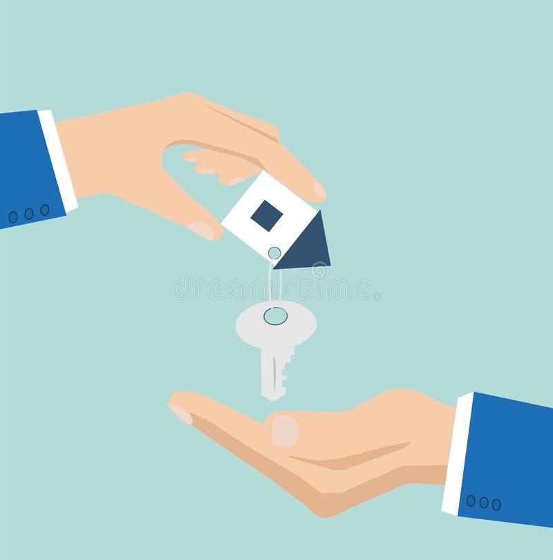 Vector van een huissleutel met plattelandshuisjesleutelring van één hand aan een andere wordt gegeven dat royalty-vrije illustratie