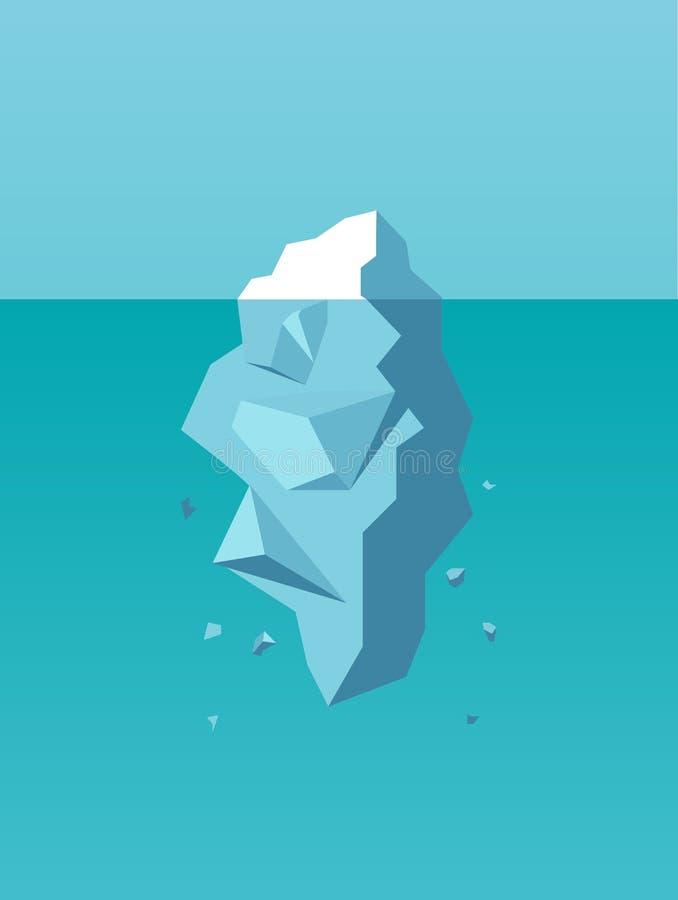 Vector van een ijsberg als symbool van bedrijfsrisico, gevaar, uitdaging vector illustratie