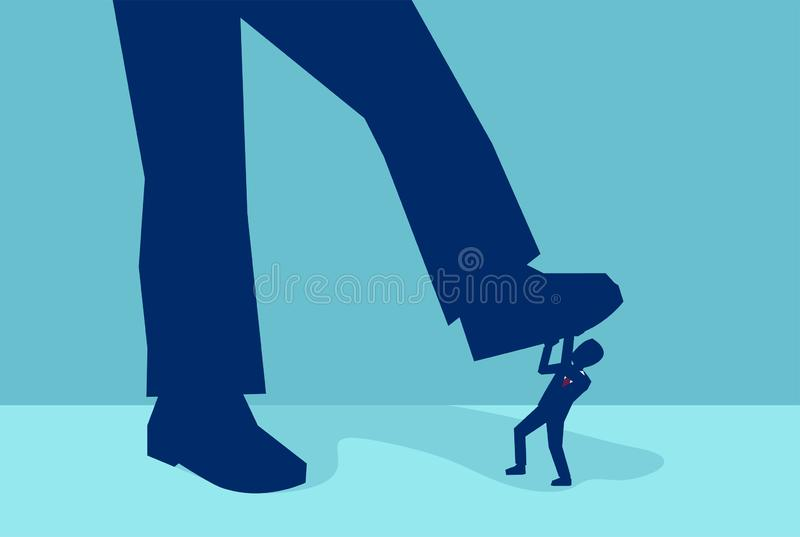 Vector van een kleine zakenman die door een reuzevoet worden verpletterd stock illustratie