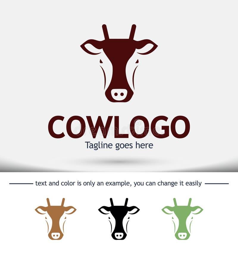 Vector van een koe hoofdontwerp, Landbouwbedrijfdier stock afbeeldingen