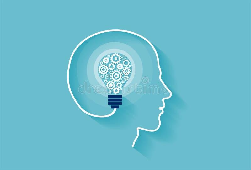 Vector van een menselijk die hoofd met de binnenkant van de idee gloeilamp van toestelmechanismen wordt gemaakt vector illustratie