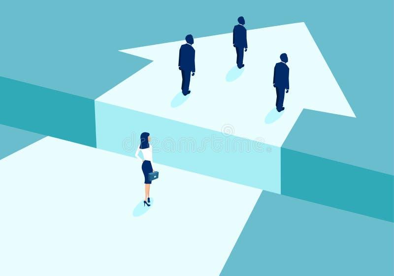 Vector van een onderneemsterbekleding achter zakenlieden en verdeeld door hiaat vector illustratie