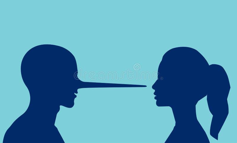 Vector van een vrouw die een het liggen man met een lange neus bekijken royalty-vrije illustratie