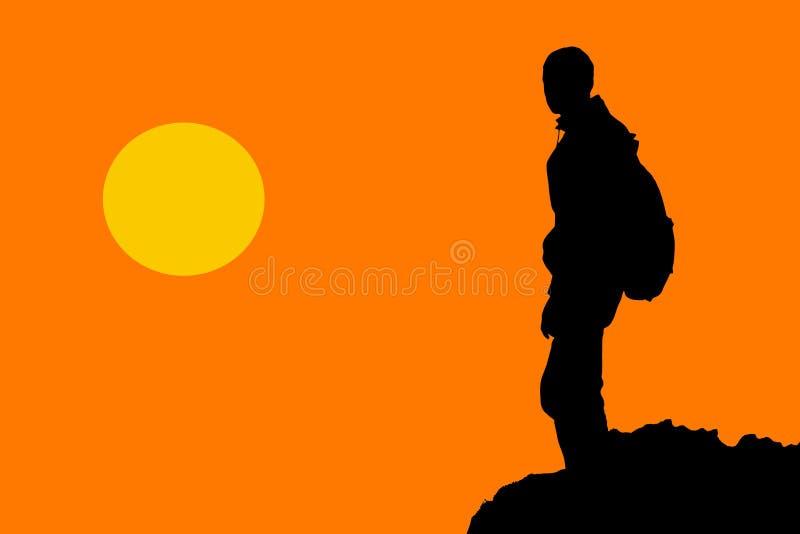 Vector van een wandelaar die zich bovenop berg bevinden royalty-vrije illustratie