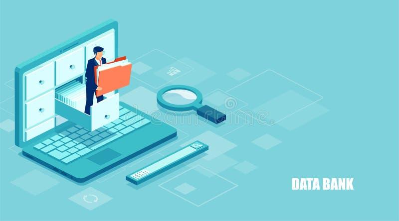 Vector van een zakenman die een omslag met documenten van het archief houden die online digitale database leiden stock illustratie