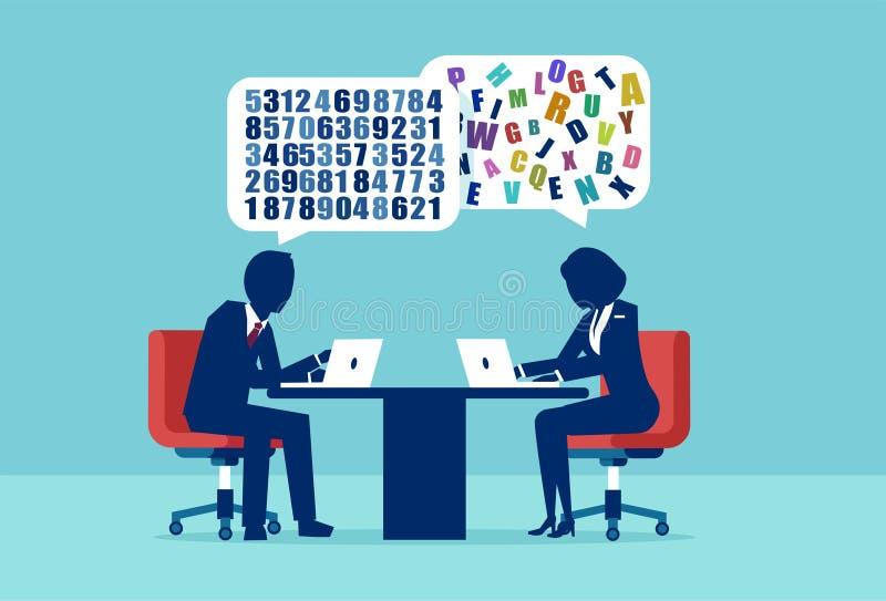 Vector van een zakenman en een onderneemster die een verschillende benadering van probleem het oplossen hebben stock illustratie