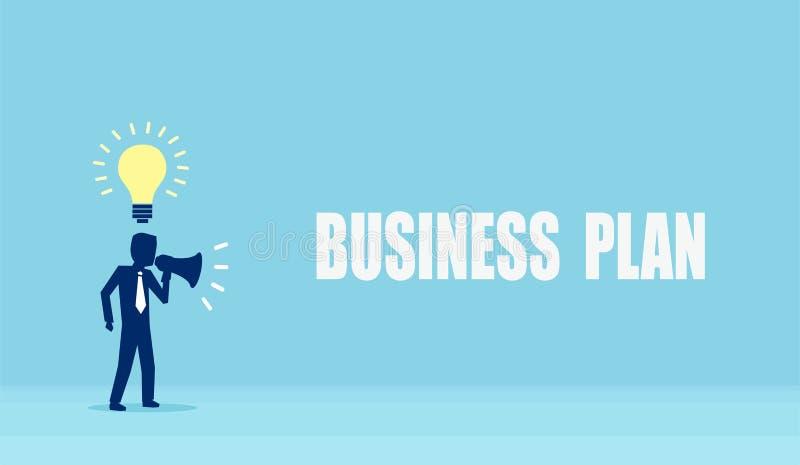 Vector van een zakenman met innovatieve ideeën die een aankondiging in megafoon maken stock illustratie