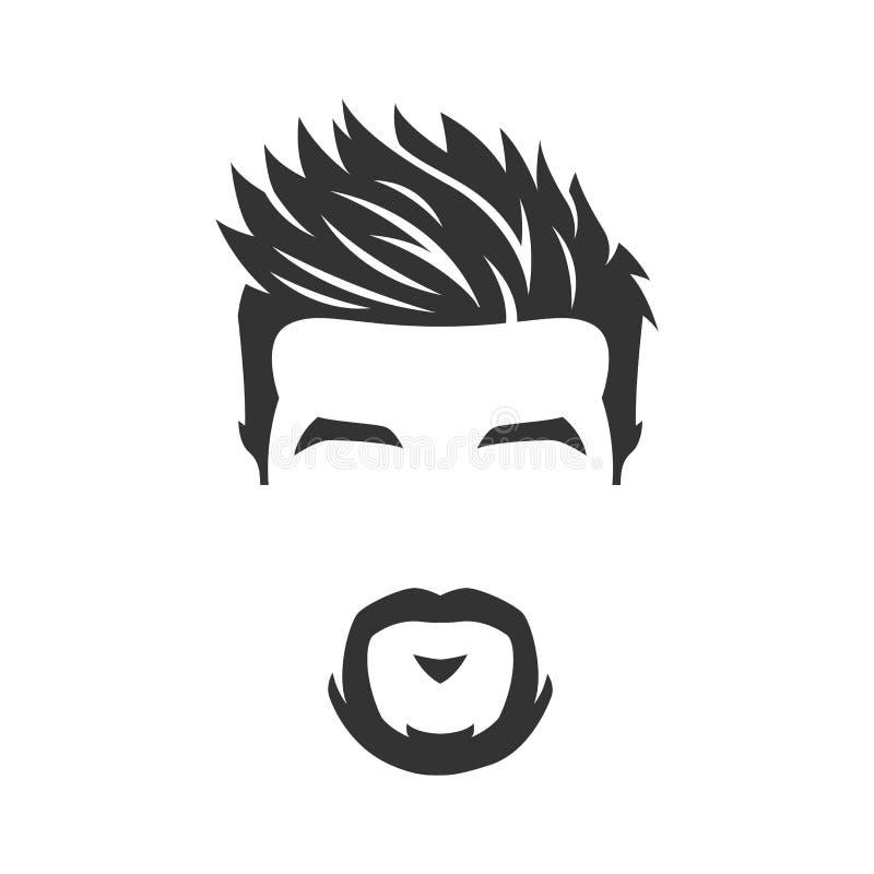 Vector van gebaard mensengezicht, met snor, geïsoleerde achtergrond royalty-vrije illustratie
