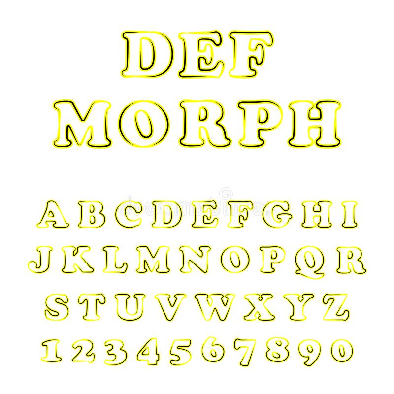 Vector van gewaagd modern doopvont en alfabet royalty-vrije illustratie