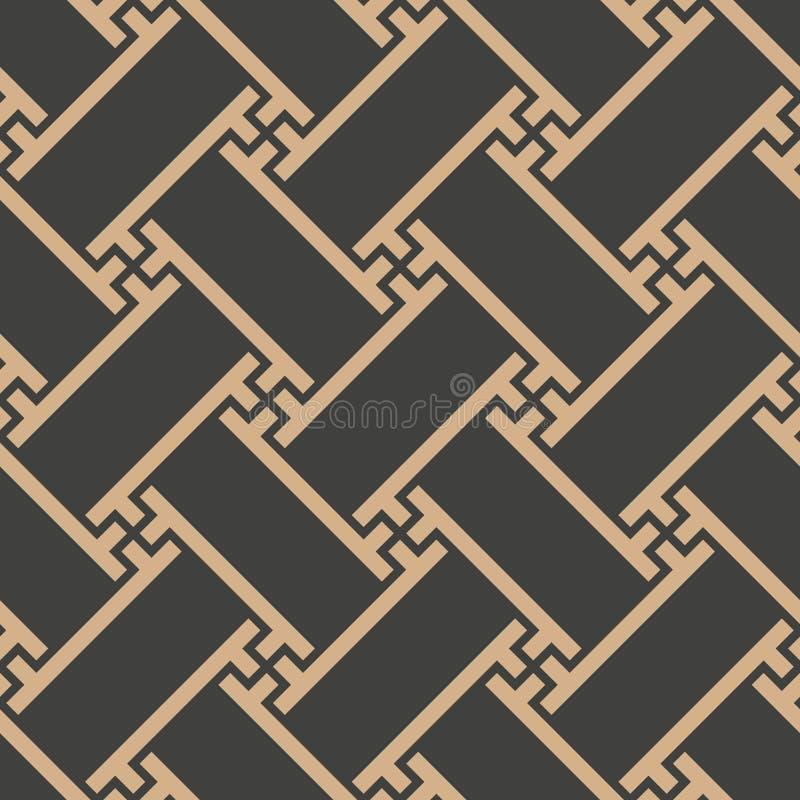 Vector van het van het achtergrond damast naadloos retro patroon de veelhoekkader spiraalvormig meetkunde oosters dwarsrooster El royalty-vrije illustratie