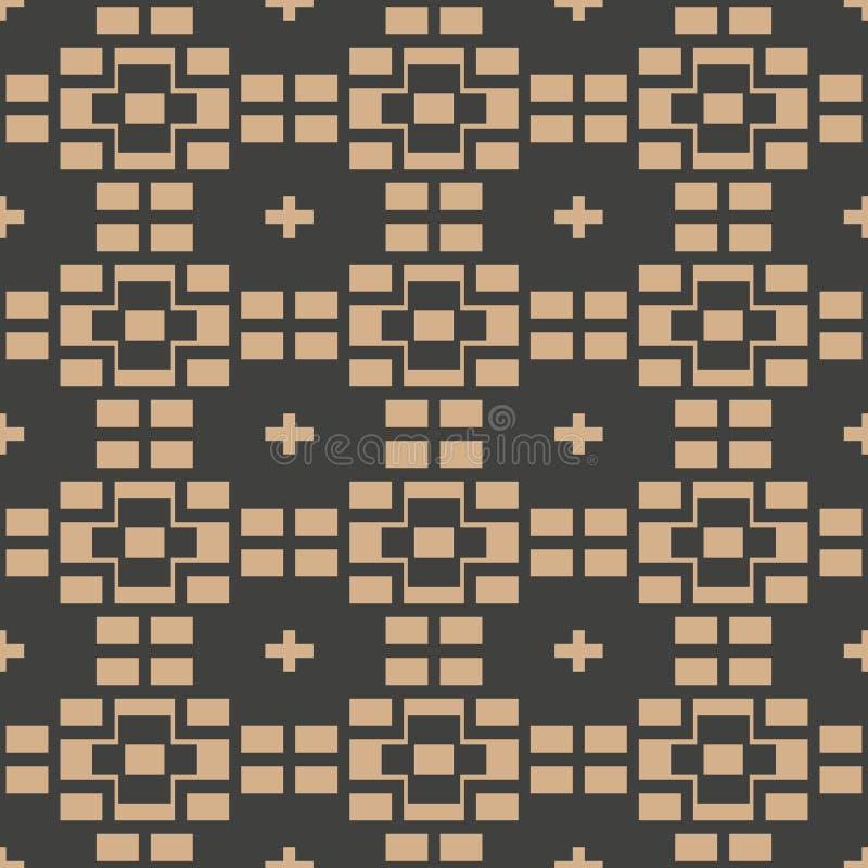 Vector van het achtergrond damast naadloos retro patroon vierkant meetkunde dwarskader Het elegante ontwerp van de luxe bruine to royalty-vrije illustratie