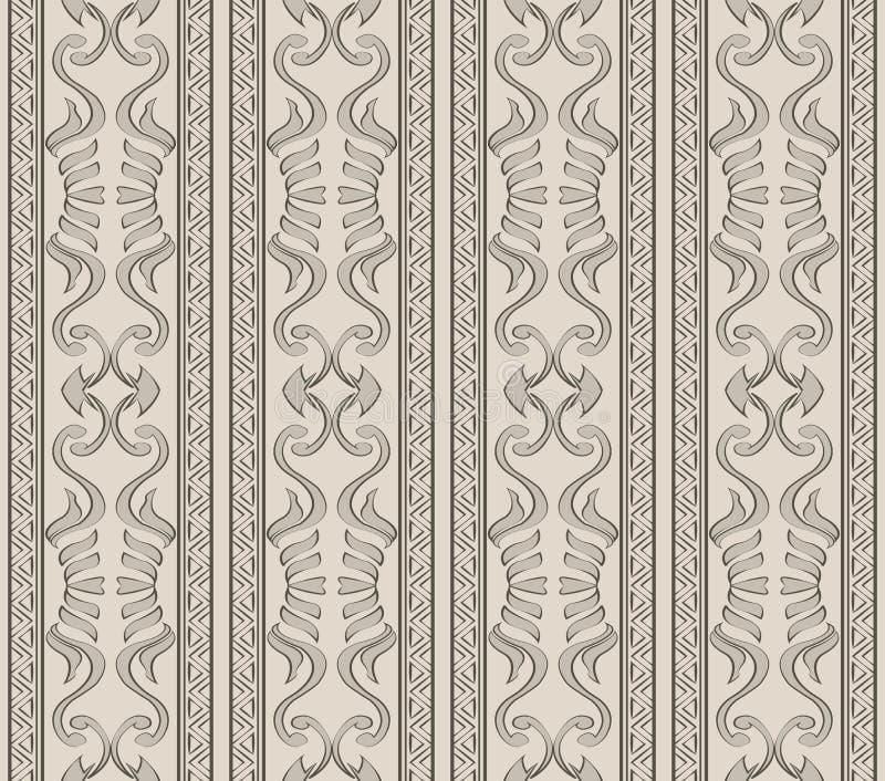 Vector van het achtergrond damast naadloze patroon inheemse krommespira stock illustratie