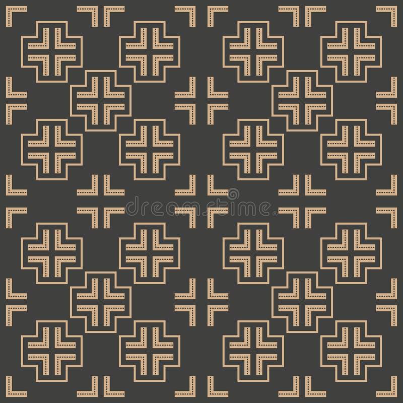 Vector van het van het achtergrond damast naadloze retro patroon de puntlijn meetkunde dwarskader Het elegante ontwerp van de lux stock illustratie