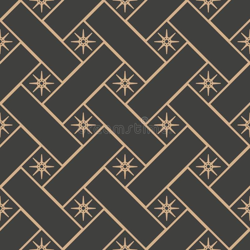 Vector van het van het achtergrond damast naadloze retro patroon de sterbloem vierkante meetkunde dwarskader Het elegante ontwerp royalty-vrije illustratie