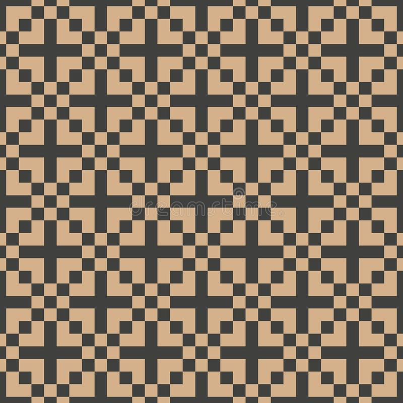 Vector van het van het achtergrond damast naadloze retro patroon het pixel dwarscaleidoscoop meetkunde vierkante mozaïek Het eleg stock illustratie
