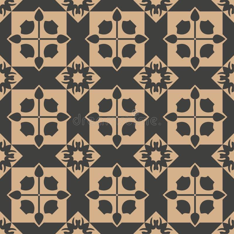 Vector van het achtergrond damast naadloze retro patroon vierkante meetkunde dwarsbloem Het elegante ontwerp van de luxe bruine t vector illustratie