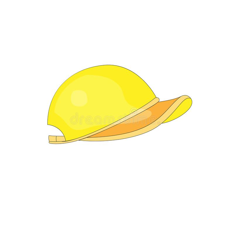 Vector van het baceballglb pictogram van de beeldverhaalpret de gele Gele grappige sport GLB Leuke sporthoed die yelow kleur op w royalty-vrije illustratie