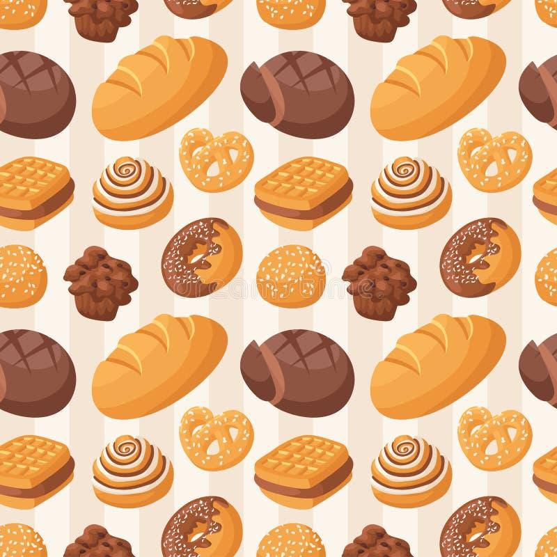 Vector van het bakkerij de naadloze patroon royalty-vrije illustratie