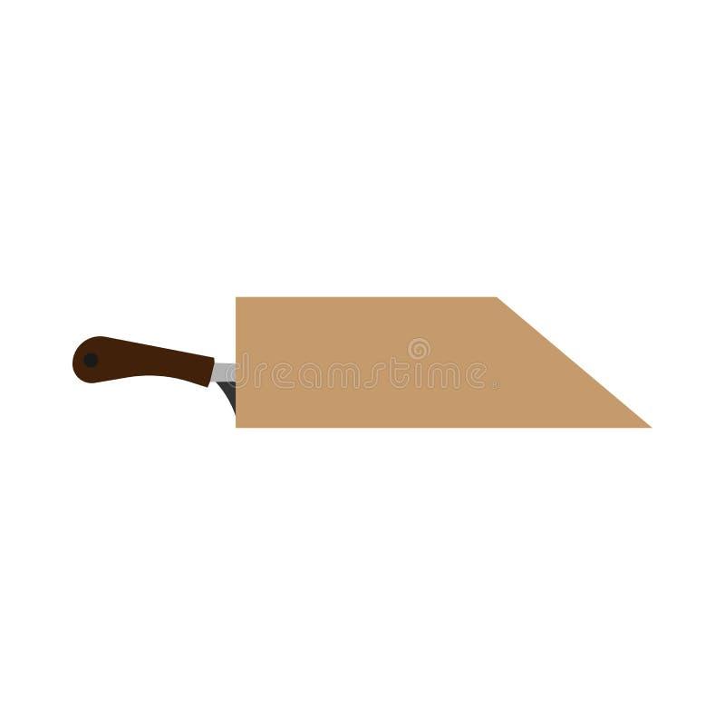 Vector van het het blad de houten pictogram van de messenhouder Uitstekend het werktuigmateriaal van bestekgaten vector illustratie