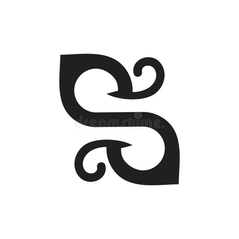 Vector van het het bladembleem van brievens-curves de groene royalty-vrije illustratie