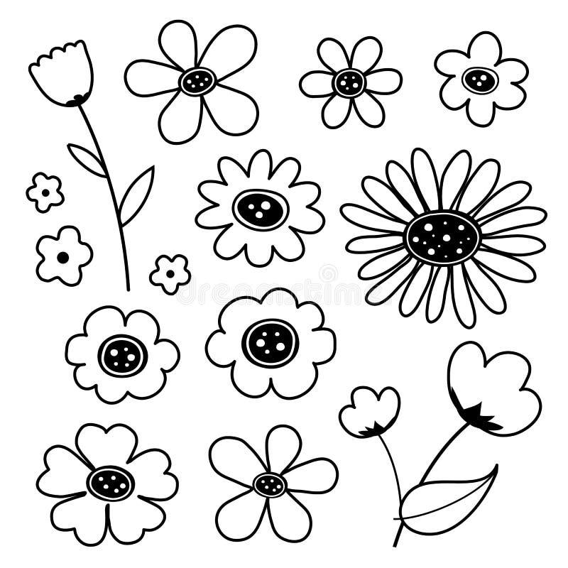 Vector van het bloem de Leuke Zwarte Pictogram royalty-vrije illustratie