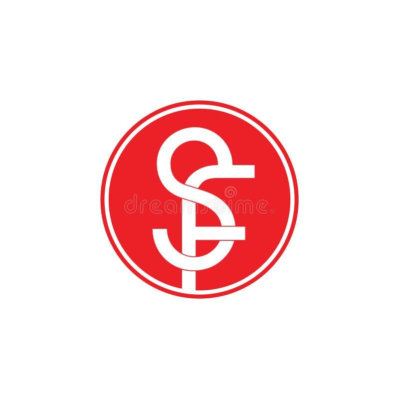 Vector van het brieven sf de verbonden negatieve ruimteembleem royalty-vrije illustratie