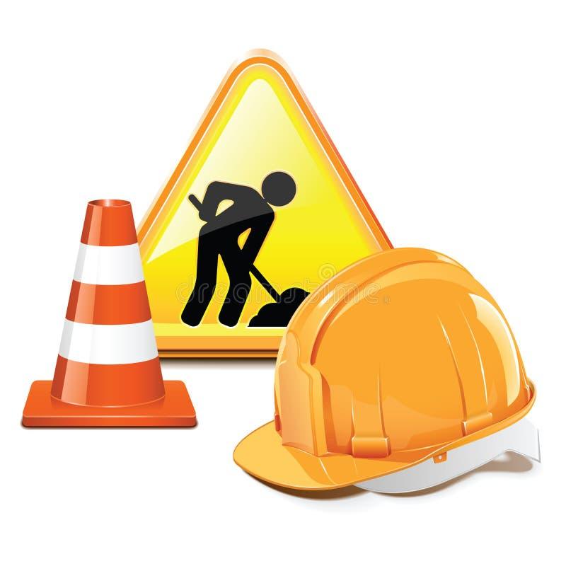 Vector van het cementfabriek en werk machinesbetonmolen, asfalt royalty-vrije illustratie