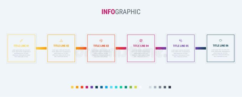 Vector van het chronologie de infographic ontwerp 6 stappen, vierkante werkschemalay-out Vectorinfographic-chronologiemalplaatje royalty-vrije illustratie