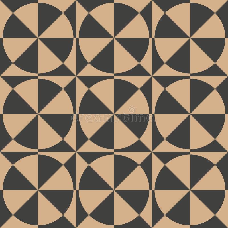Vector van het damast naadloze retro patroon meetkunde als achtergrond om draaikolkkruis Het elegante ontwerp van de luxe bruine  royalty-vrije illustratie