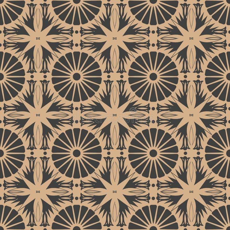 Vector van het damast naadloze retro patroon meetkunde als achtergrond om dwarsbloemkader Het elegante ontwerp van de luxe bruine vector illustratie