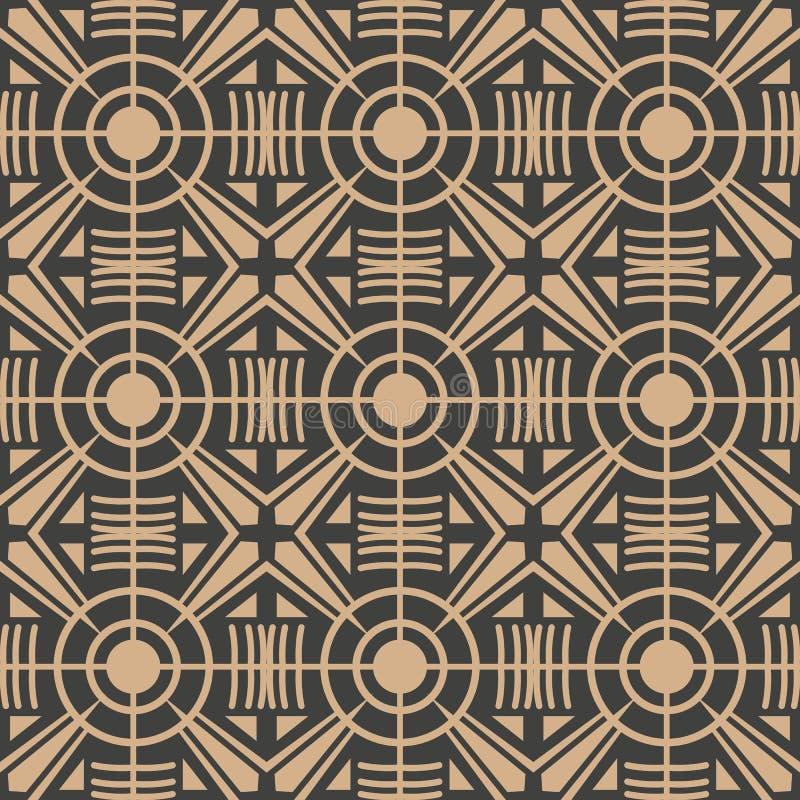 Vector van het damast naadloze retro patroon meetkunde als achtergrond om dwarskadercaleidoscoop Het elegante ontwerp van de luxe stock illustratie