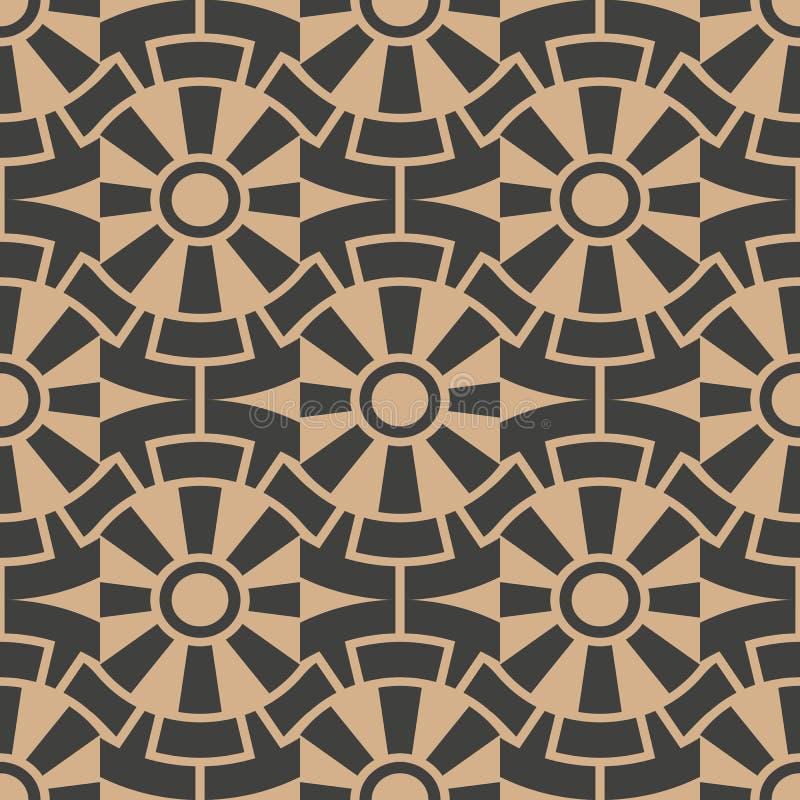 Vector van het damast naadloze retro patroon meetkunde als achtergrond om kader van de kromme het spiraalvormige dwarsbloem Het e vector illustratie