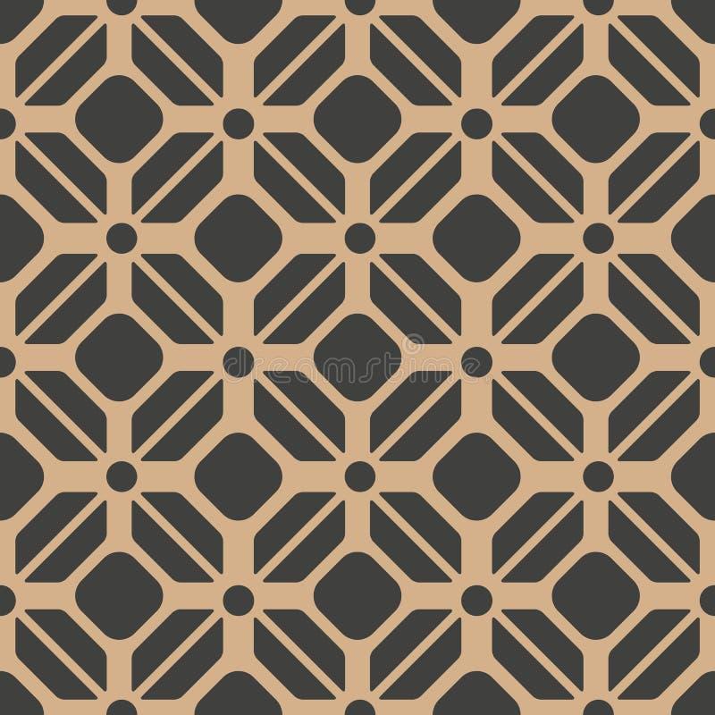 Vector van het damast naadloze retro patroon veelhoek als achtergrond om meetkunde dwarskader Het elegante ontwerp van de luxe br stock illustratie