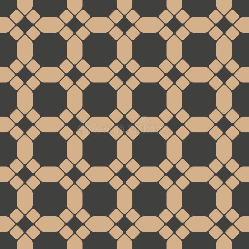 Vector van het damast naadloze retro patroon veelhoek als achtergrond om meetkunde van het kromme de dwarskader Het elegante ontw stock illustratie