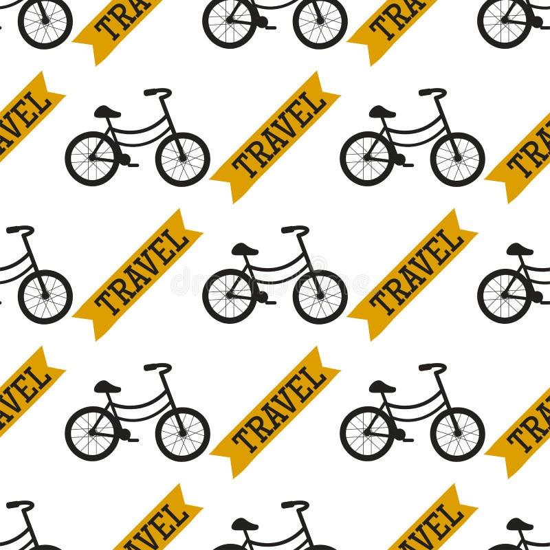 Vector van het de achtergrond fiets naadloze patroon van de fietsen uitstekende stijl oude vervoerillustratie royalty-vrije illustratie