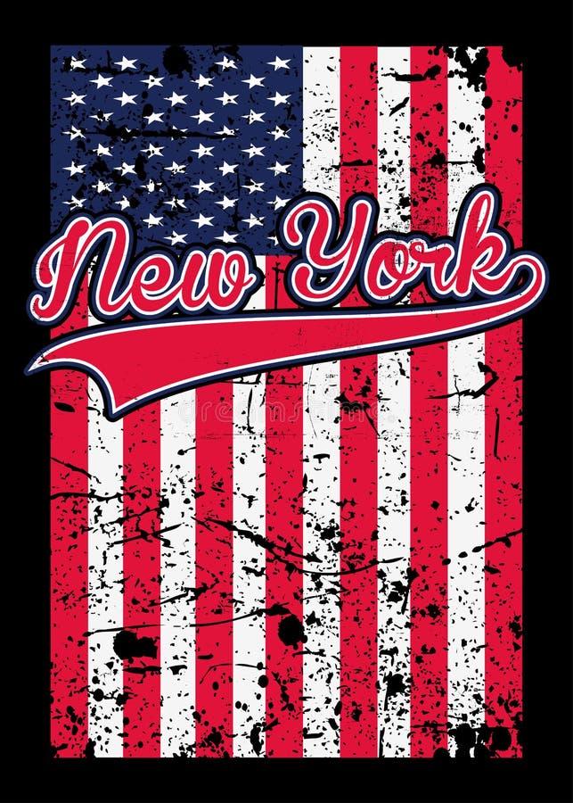 Vector van het de affiche kleurrijke grafische T-stuk van New York de Amerikaanse vlag verontruste vector illustratie