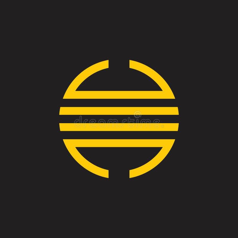 Vector van het de cirkelembleem van de strepen de geometrische maan royalty-vrije illustratie