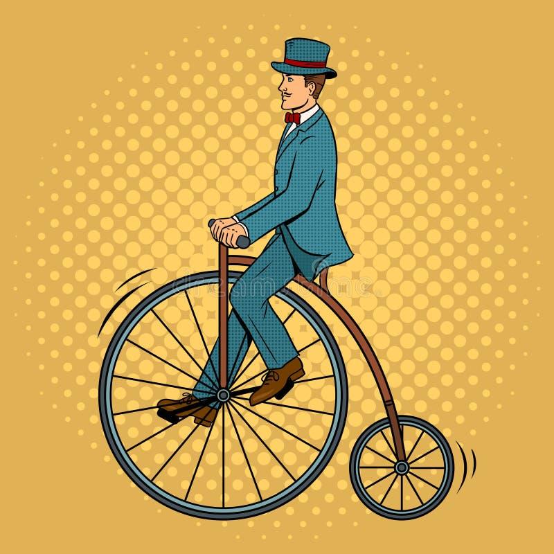 Vector van het de fietspop-art van de herenrit de uitstekende royalty-vrije illustratie
