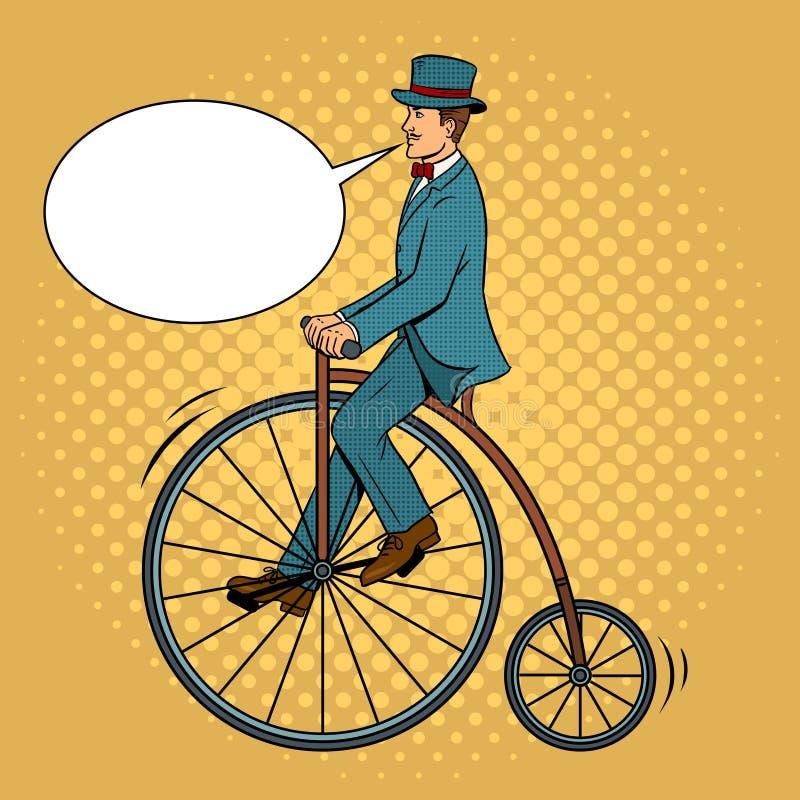Vector van het de fietspop-art van de herenrit de uitstekende stock illustratie