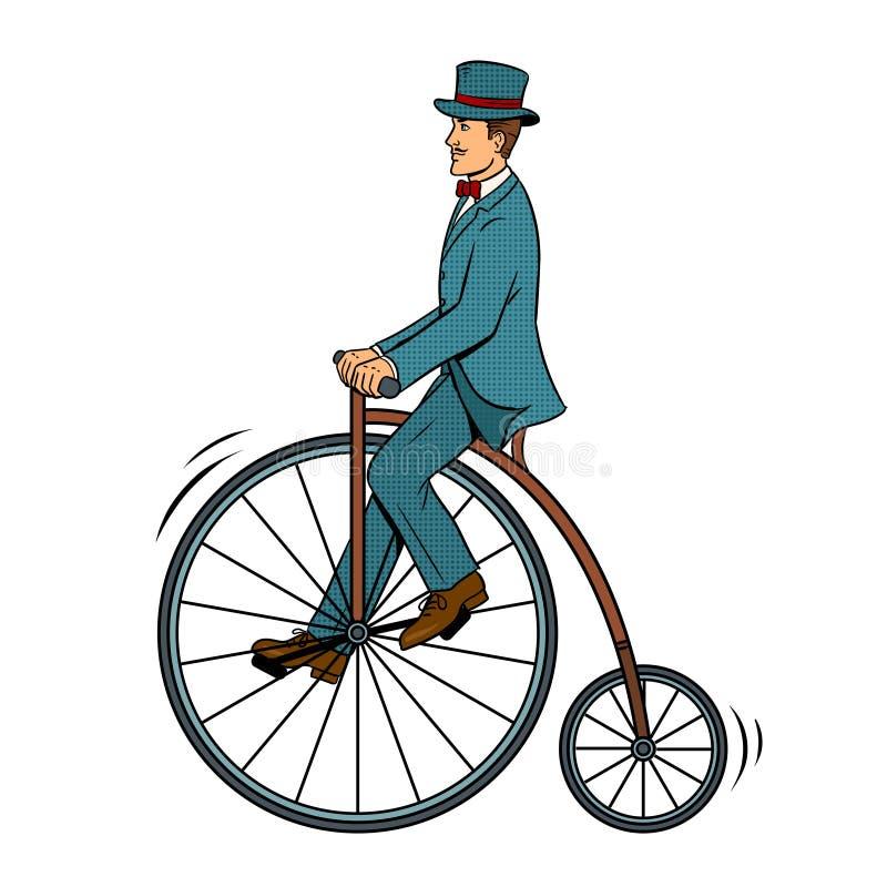 Vector van het de fietspop-art van de herenrit de uitstekende vector illustratie
