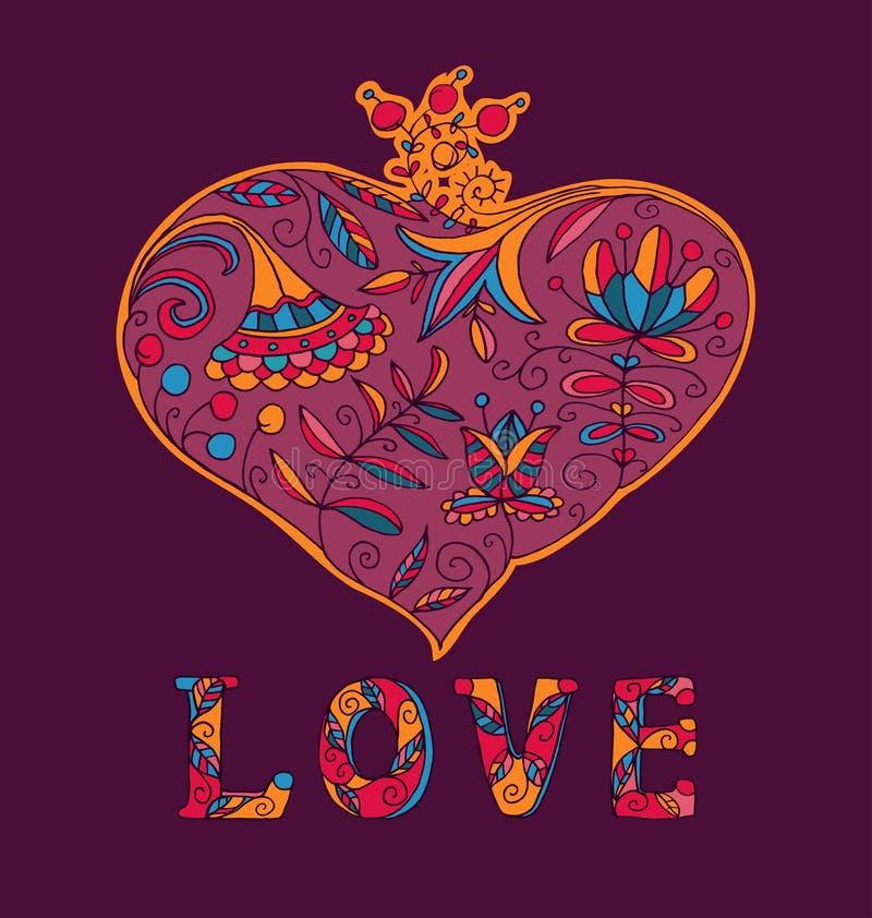 Vector van het de Liefdehart van de valentijnskaartendag de Bloemen royalty-vrije illustratie