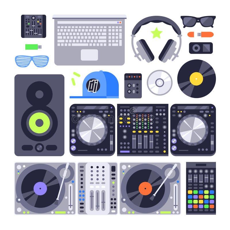Vector van het de muziekmateriaal van reeks diverse gestileerde DJ het pictogramnachtclub die de schijfcontrole mengen van het dr vector illustratie