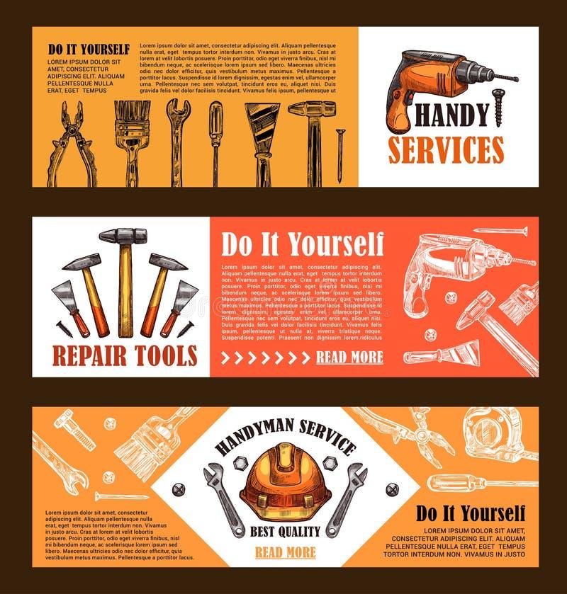 Download Vector Van Het De Schetswerk Van De Huisreparatie De Hulpmiddelenbanners Vector Illustratie - Illustratie bestaande uit boor, vernieuwing: 107707358
