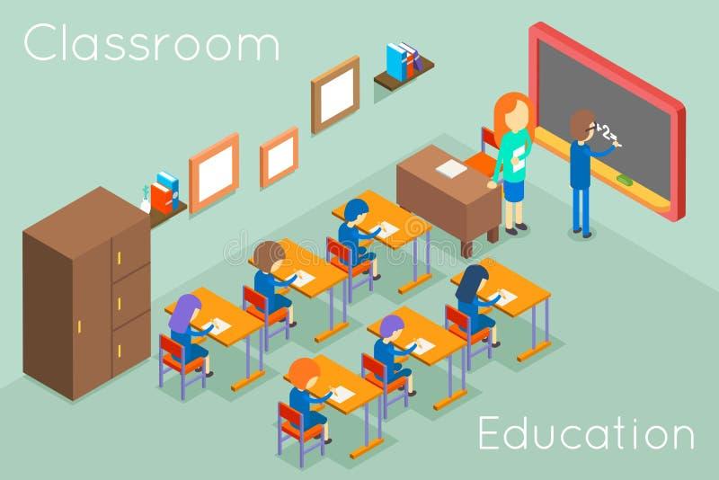 Vector van het het onderwijs de isometrische concept van het schoolklaslokaal royalty-vrije illustratie