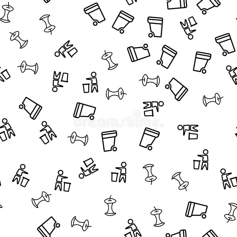 Vector van het het Huisvuil de Naadloze Patroon van het verwijderingsvoedsel stock illustratie