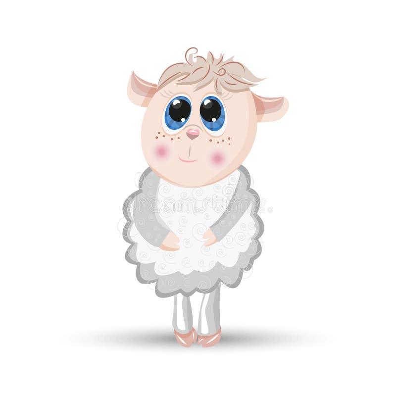 Vector van het het lamskarakter van het schapen de dierlijke beeldverhaal bont stock illustratie