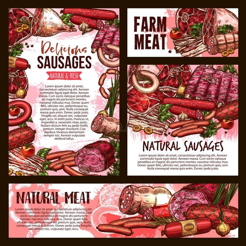 Vector van het landbouwbedrijfworsten van het schetsvlees het productaffiches vector illustratie